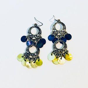 Jewelry - Blue & yellow earrings in silver setting